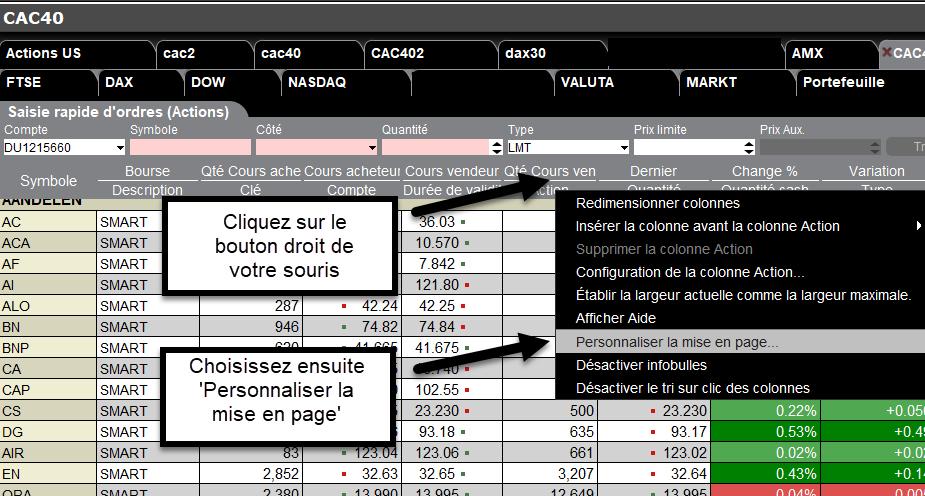 ratio cours bénéfice capture d'écran trading cac 40
