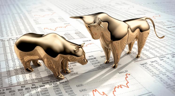prix de l'or illustration trading ours et taureau dorés