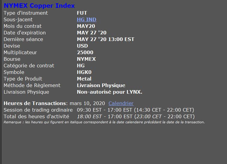 Prix du cuivre - cours du cuivre - investir dans le cuivre - cuivre description