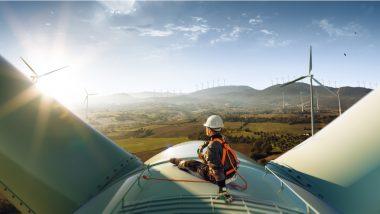 investir energie renouvelable - actions développement durable - illustration eolienne avec ingénieur